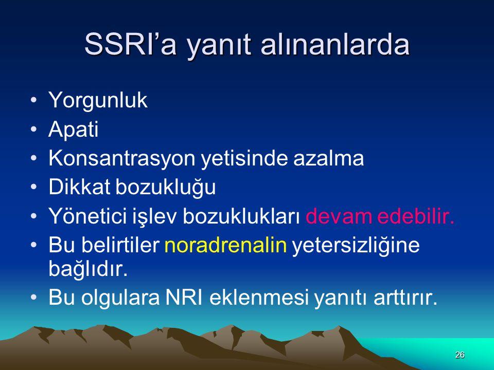 SSRI'a yanıt alınanlarda