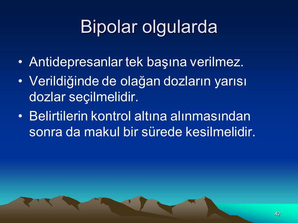 Bipolar olgularda Antidepresanlar tek başına verilmez.