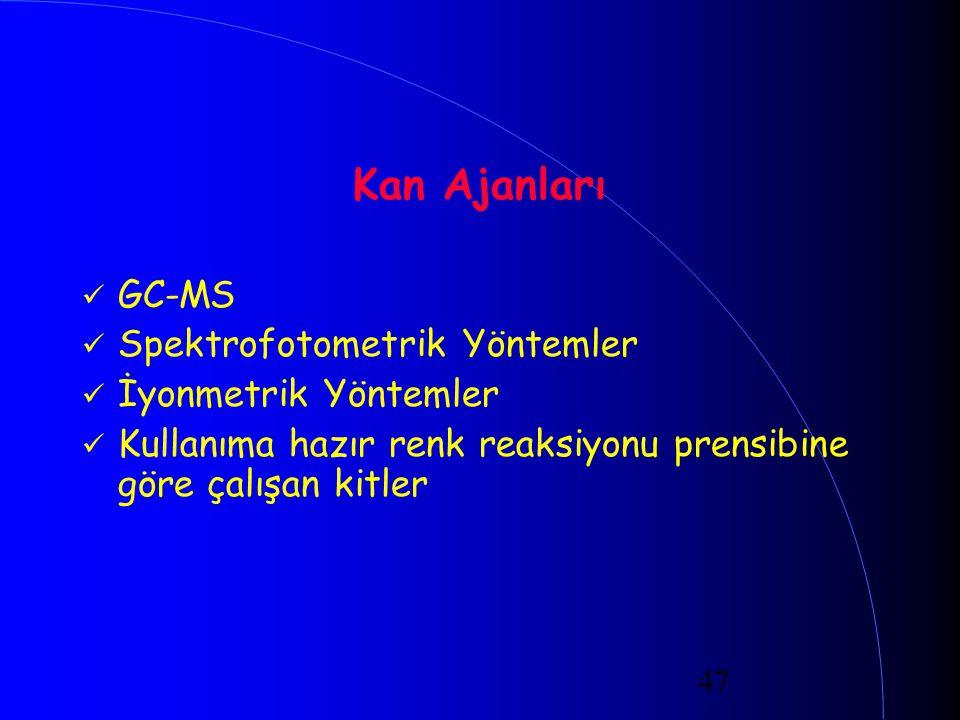 Kan Ajanları GC-MS Spektrofotometrik Yöntemler İyonmetrik Yöntemler