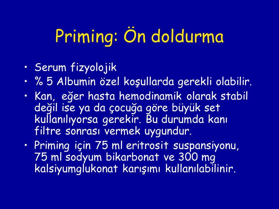Priming: Ön doldurma Serum fizyolojik