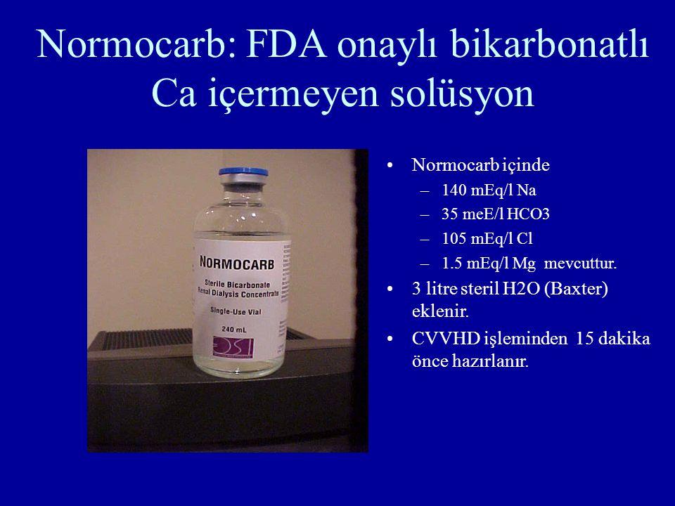 Normocarb: FDA onaylı bikarbonatlı Ca içermeyen solüsyon