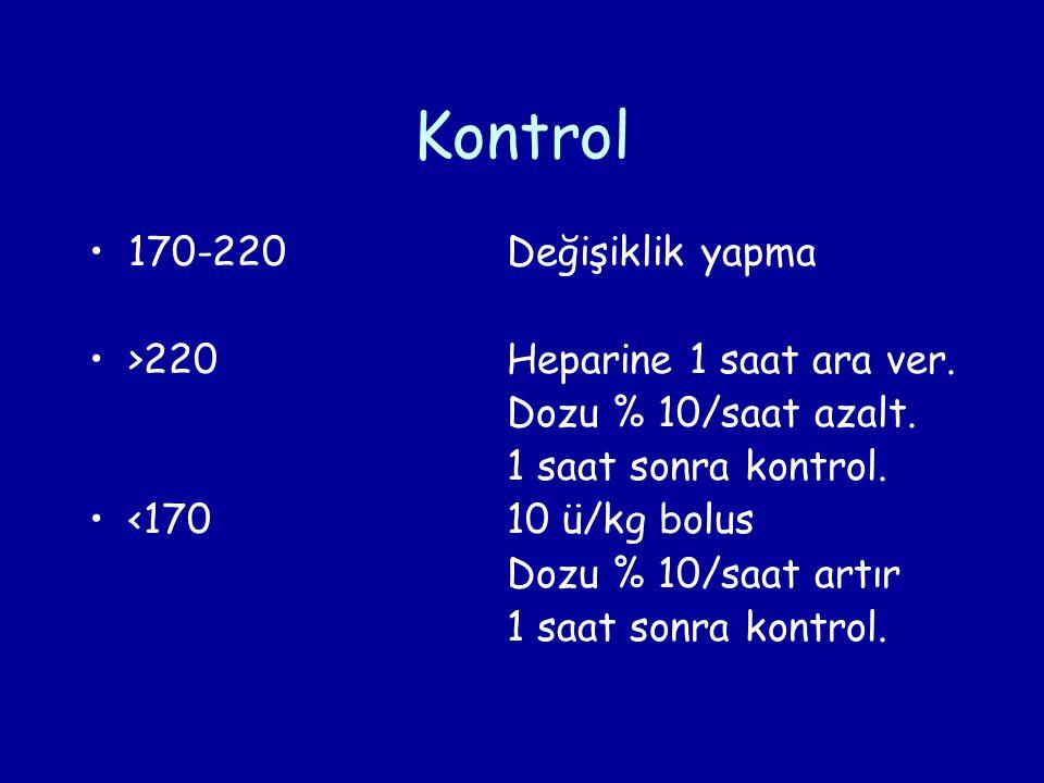 Kontrol 170-220 Değişiklik yapma >220 Heparine 1 saat ara ver.