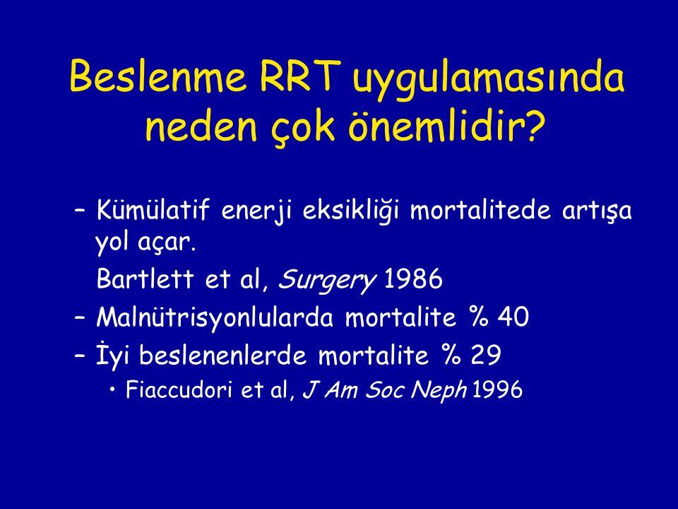 Beslenme RRT uygulamasında neden çok önemlidir