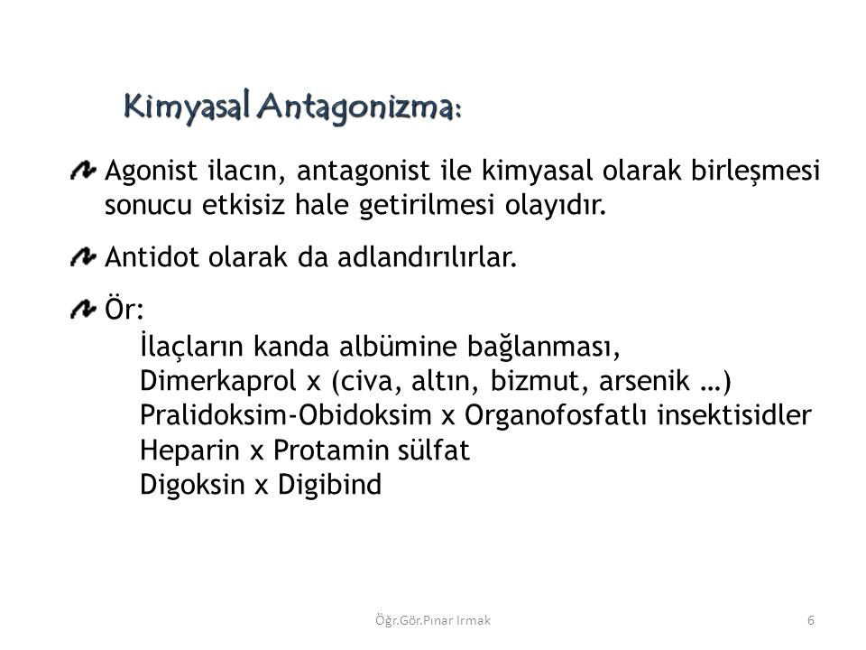 Kimyasal Antagonizma: