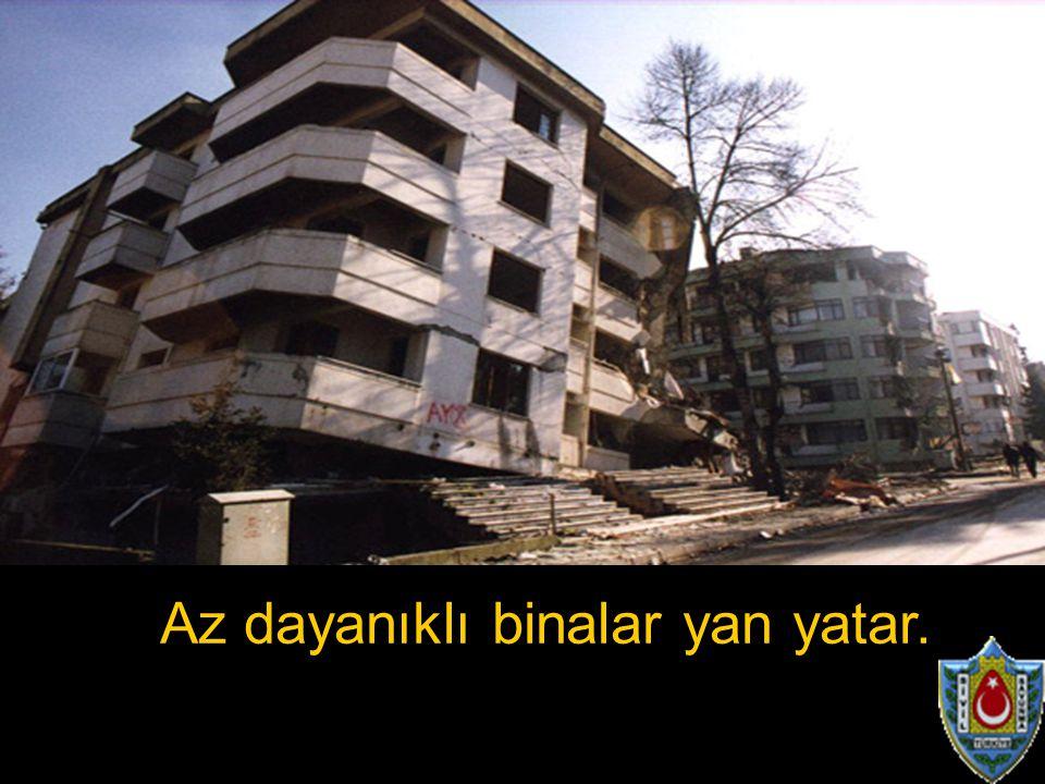 Az dayanıklı binalar yan yatar.