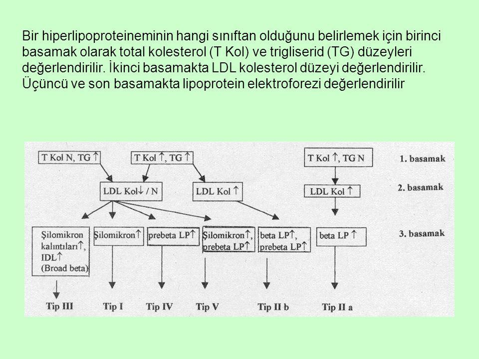 Bir hiperlipoproteineminin hangi sınıftan olduğunu belirlemek için birinci basamak olarak total kolesterol (T Kol) ve trigliserid (TG) düzeyleri değerlendirilir.