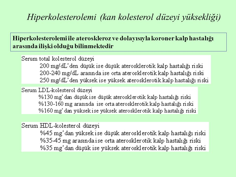 Hiperkolesterolemi (kan kolesterol düzeyi yüksekliği)