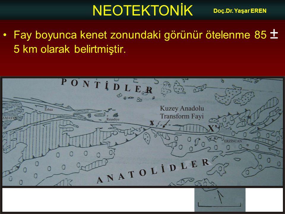Doç.Dr. Yaşar EREN Fay boyunca kenet zonundaki görünür ötelenme 85 ± 5 km olarak belirtmiştir.