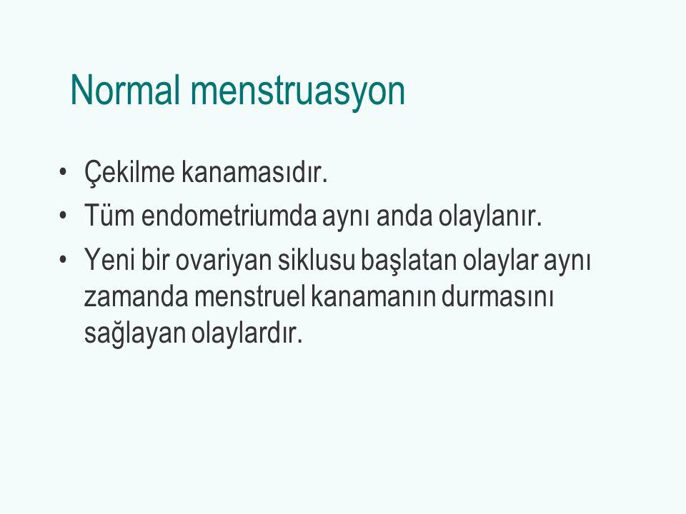 Normal menstruasyon Çekilme kanamasıdır.