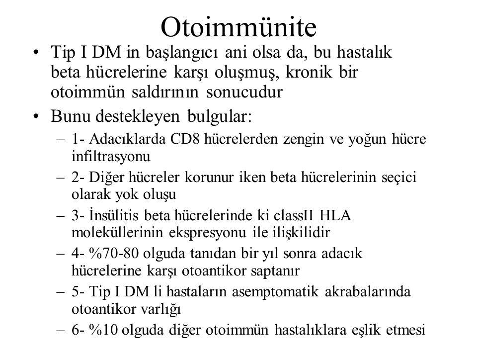 Otoimmünite Tip I DM in başlangıcı ani olsa da, bu hastalık beta hücrelerine karşı oluşmuş, kronik bir otoimmün saldırının sonucudur.