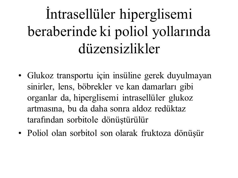 İntrasellüler hiperglisemi beraberinde ki poliol yollarında düzensizlikler