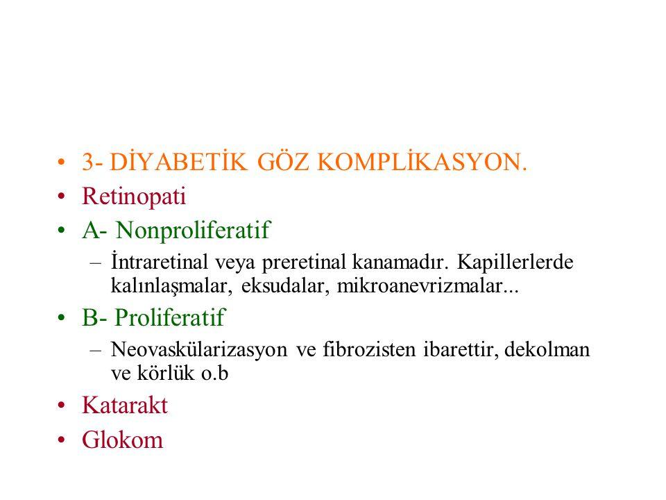 3- DİYABETİK GÖZ KOMPLİKASYON. Retinopati A- Nonproliferatif