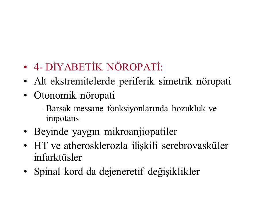 Alt ekstremitelerde periferik simetrik nöropati Otonomik nöropati