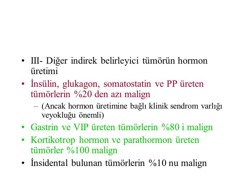 III- Diğer indirek belirleyici tümörün hormon üretimi