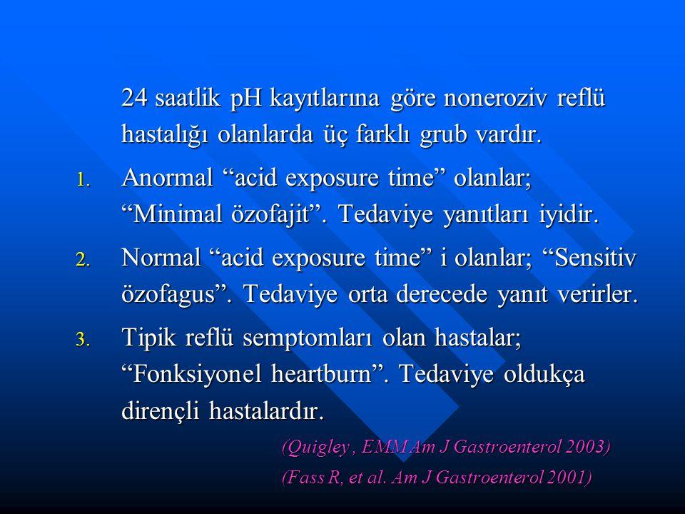 24 saatlik pH kayıtlarına göre noneroziv reflü hastalığı olanlarda üç farklı grub vardır.
