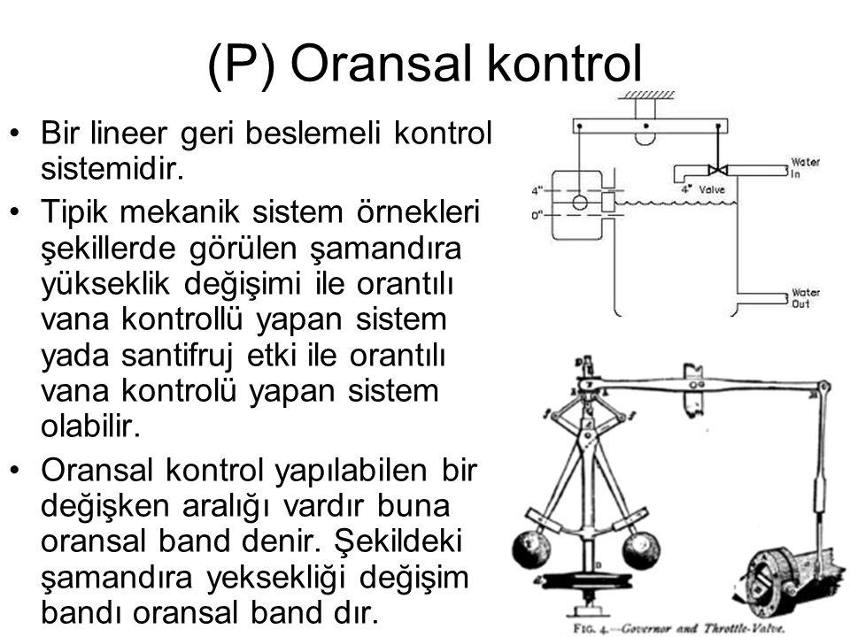 (P) Oransal kontrol Bir lineer geri beslemeli kontrol sistemidir.