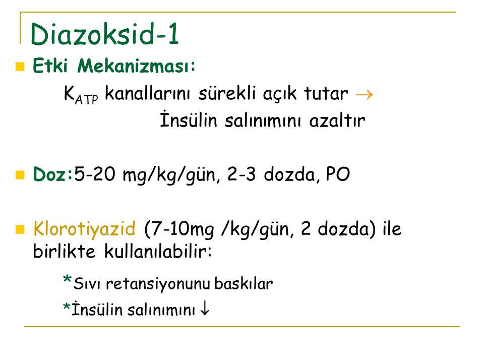 Diazoksid-1 Etki Mekanizması: KATP kanallarını sürekli açık tutar 