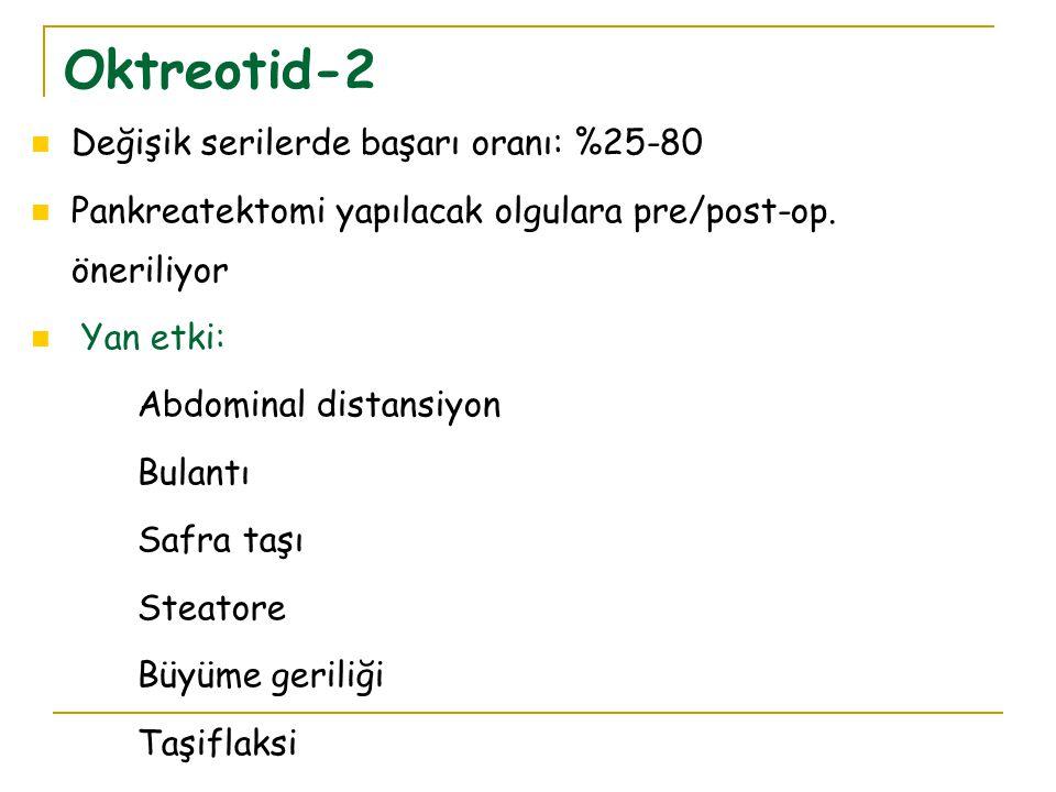 Oktreotid-2 Değişik serilerde başarı oranı: %25-80