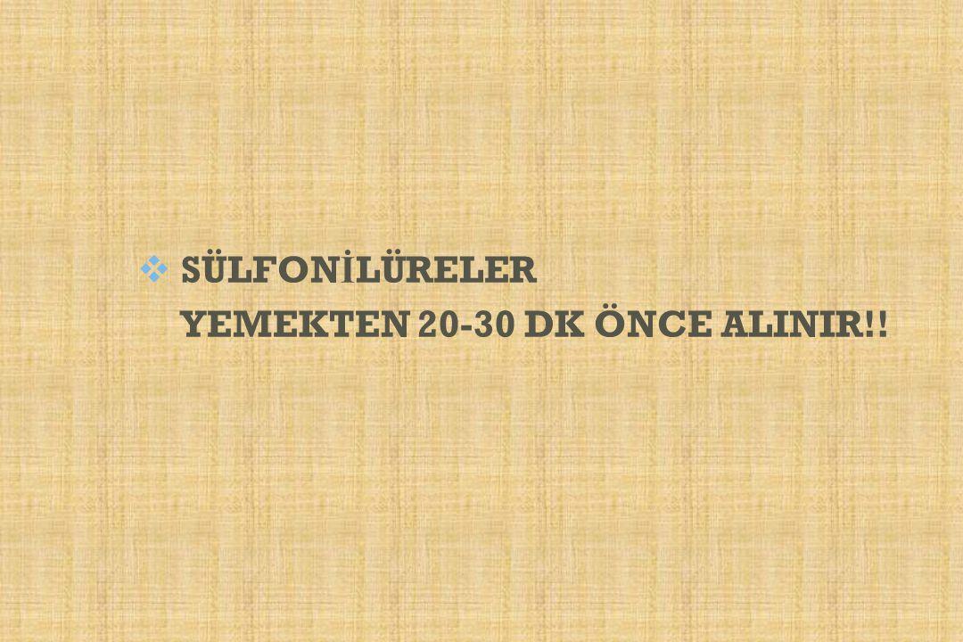 SÜLFONİLÜRELER YEMEKTEN 20-30 DK ÖNCE ALINIR!!