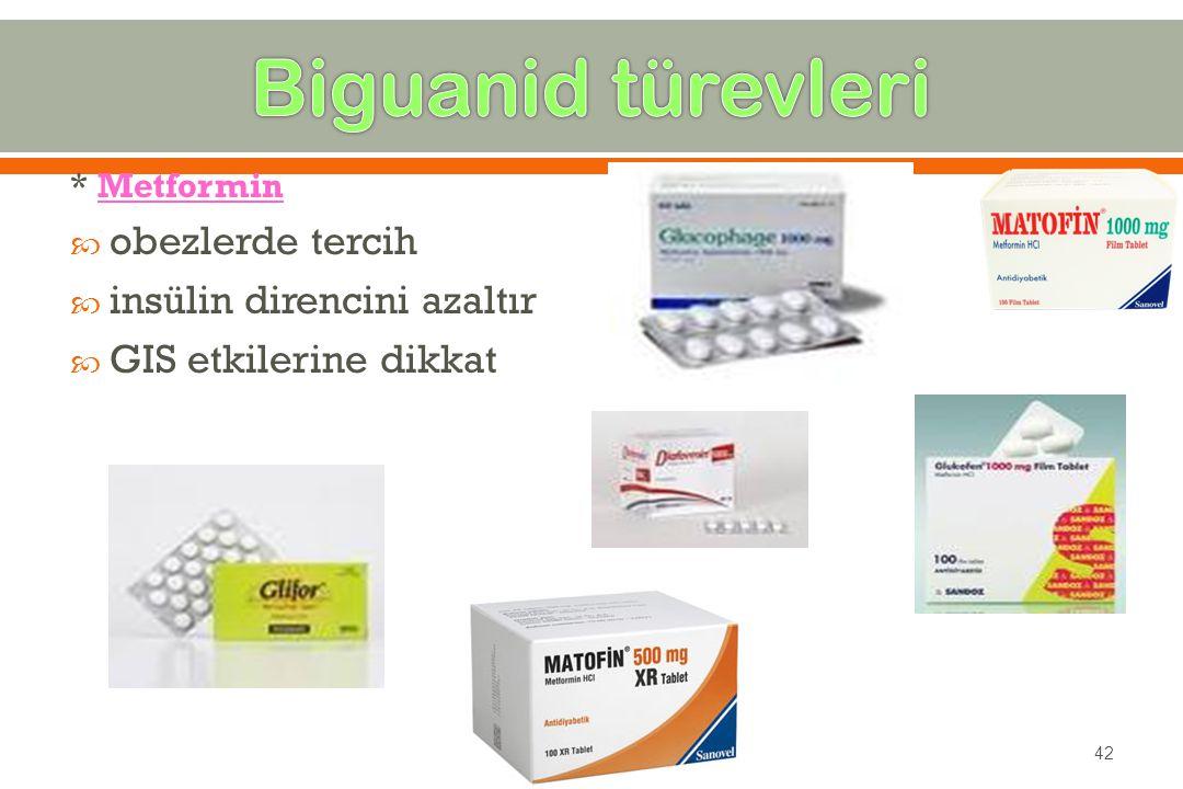 Biguanid türevleri obezlerde tercih insülin direncini azaltır