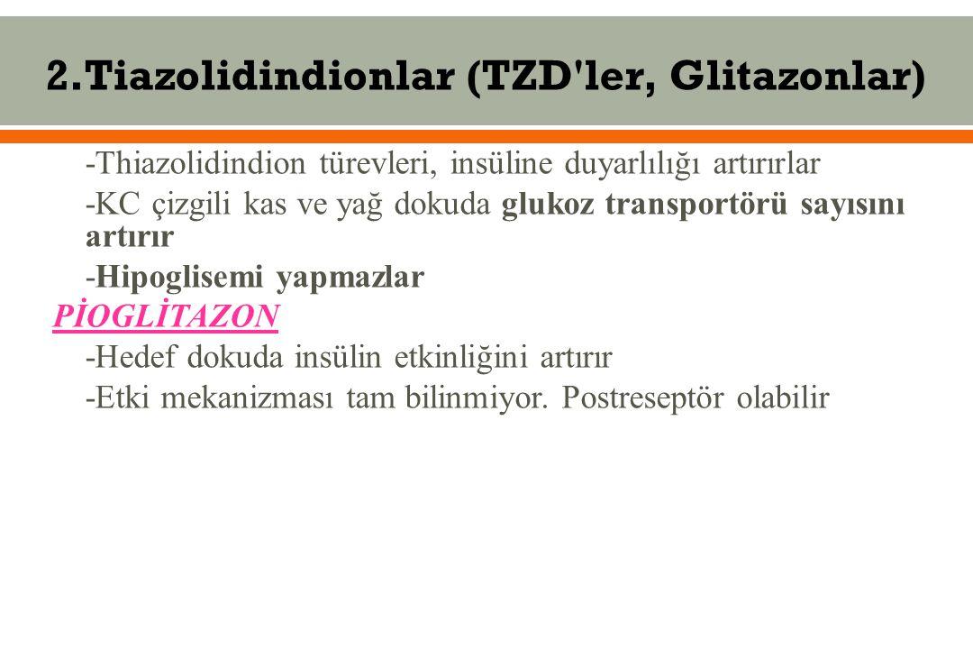 2.Tiazolidindionlar (TZD ler, Glitazonlar)