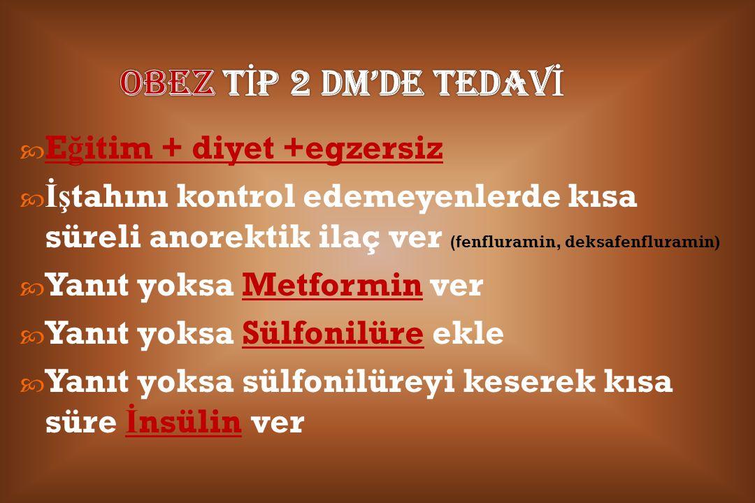 OBEZ TİP 2 DM'DE TEDAVİ Eğitim + diyet +egzersiz