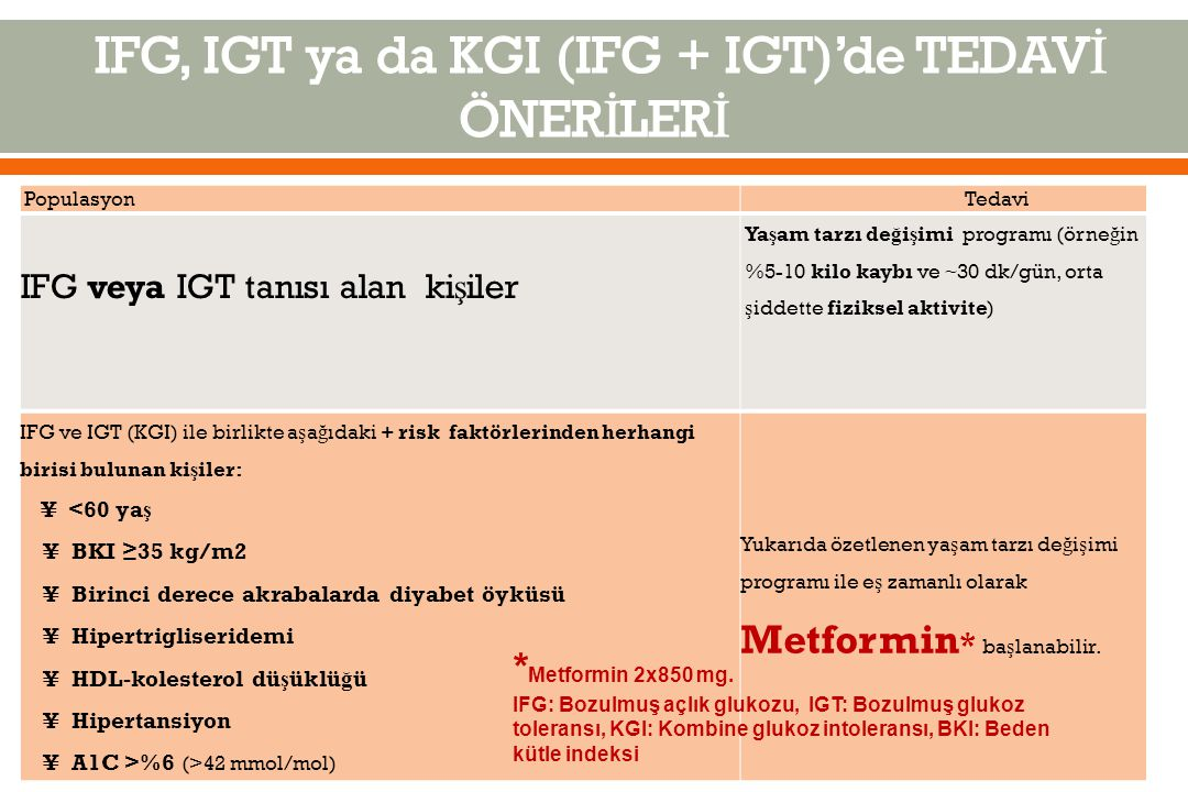 IFG, IGT ya da KGI (IFG + IGT)'de TEDAVİ ÖNERİLERİ