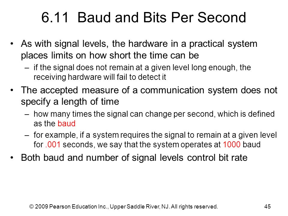 6.11 Baud and Bits Per Second