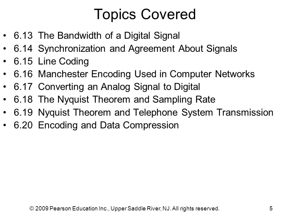 Topics Covered 6.13 The Bandwidth of a Digital Signal