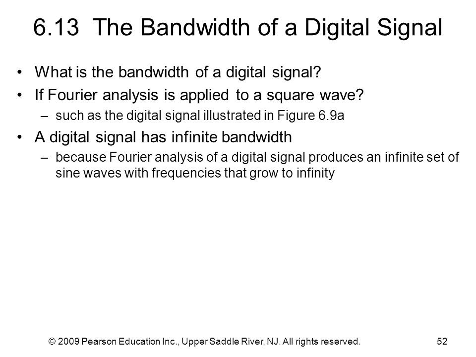 6.13 The Bandwidth of a Digital Signal