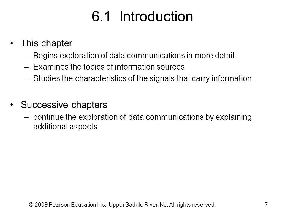 6.1 Introduction This chapter Successive chapters