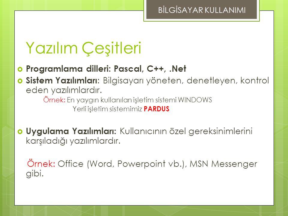 Yazılım Çeşitleri Programlama dilleri: Pascal, C++, .Net