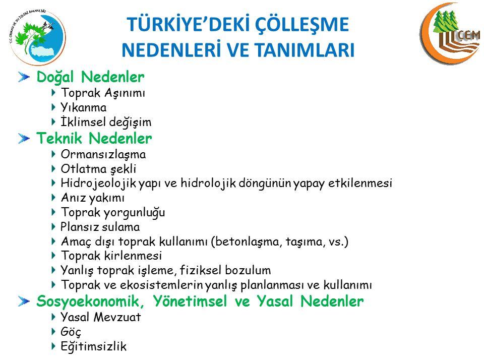 TÜRKİYE'DEKİ ÇÖLLEŞME NEDENLERİ VE TANIMLARI