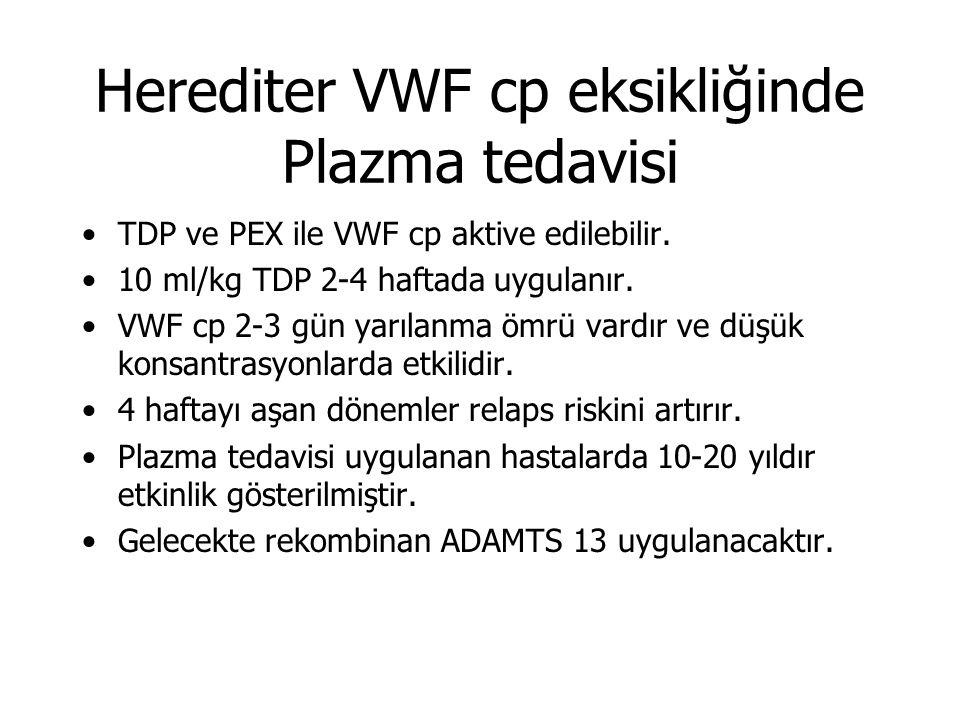 Herediter VWF cp eksikliğinde Plazma tedavisi