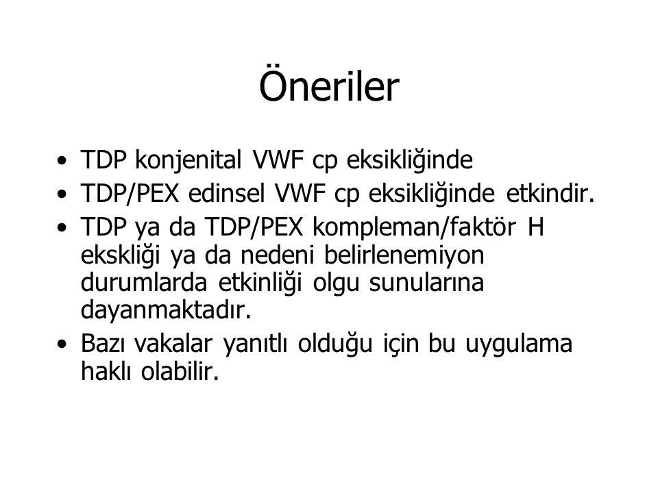 Öneriler TDP konjenital VWF cp eksikliğinde