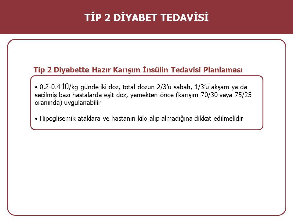 TİP 2 DİYABET TEDAVİSİ Tip 2 Diyabette Hazır Karışım İnsülin Tedavisi Planlaması.