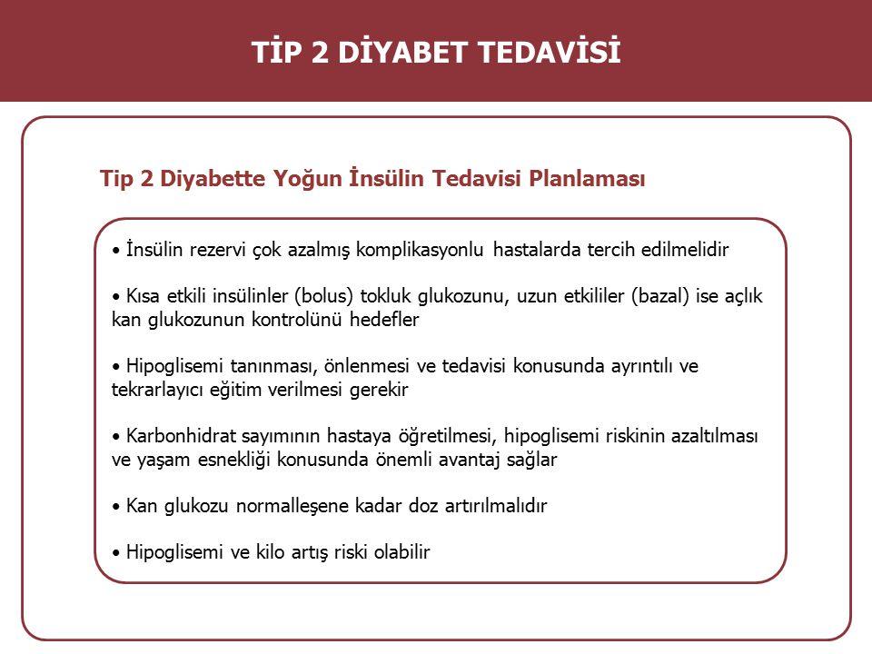 TİP 2 DİYABET TEDAVİSİ Tip 2 Diyabette Yoğun İnsülin Tedavisi Planlaması. • İnsülin rezervi çok azalmış komplikasyonlu hastalarda tercih edilmelidir.