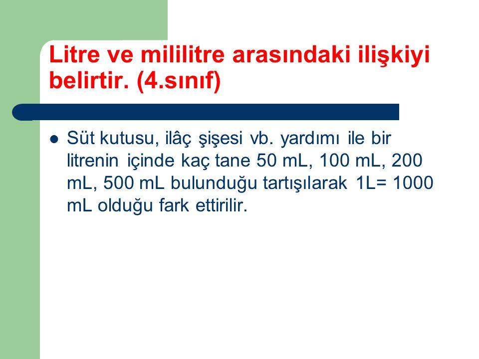 Litre ve mililitre arasındaki ilişkiyi belirtir. (4.sınıf)