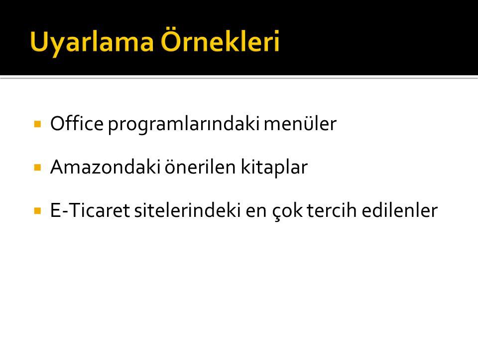 Uyarlama Örnekleri Office programlarındaki menüler