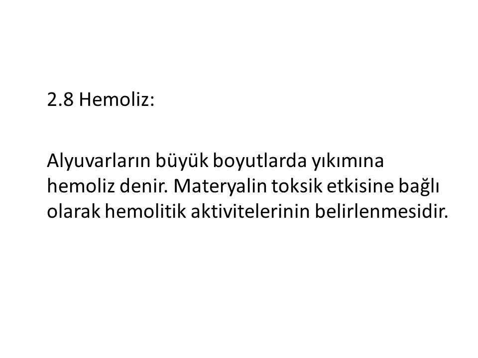 2.8 Hemoliz: Alyuvarların büyük boyutlarda yıkımına hemoliz denir.