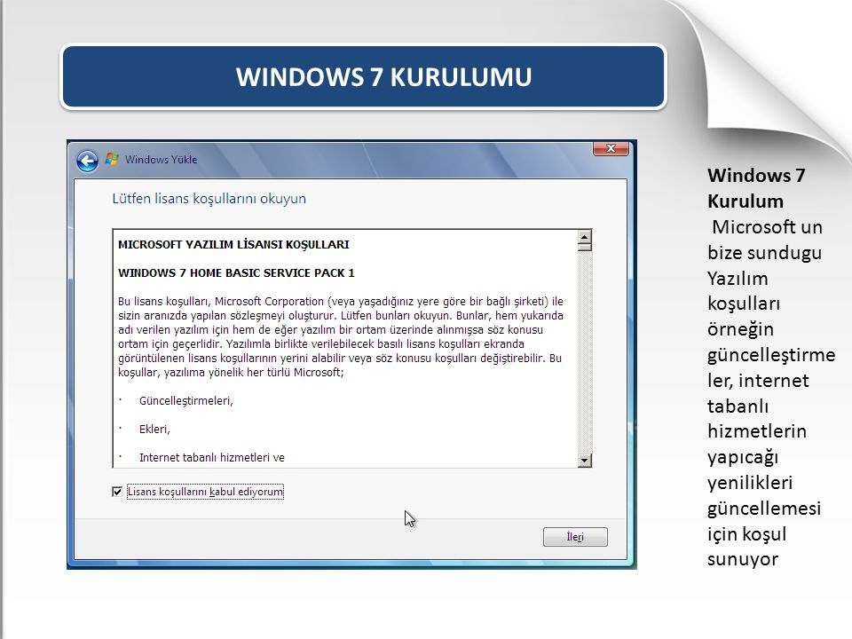 WINDOWS 7 KURULUMU Windows 7 Kurulum