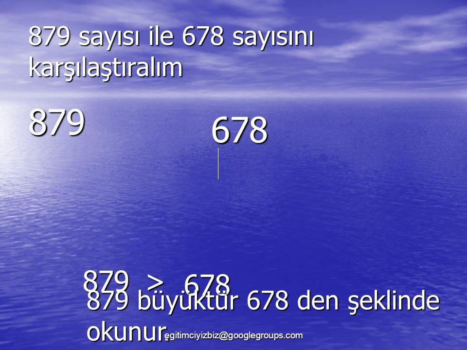 879 sayısı ile 678 sayısını karşılaştıralım