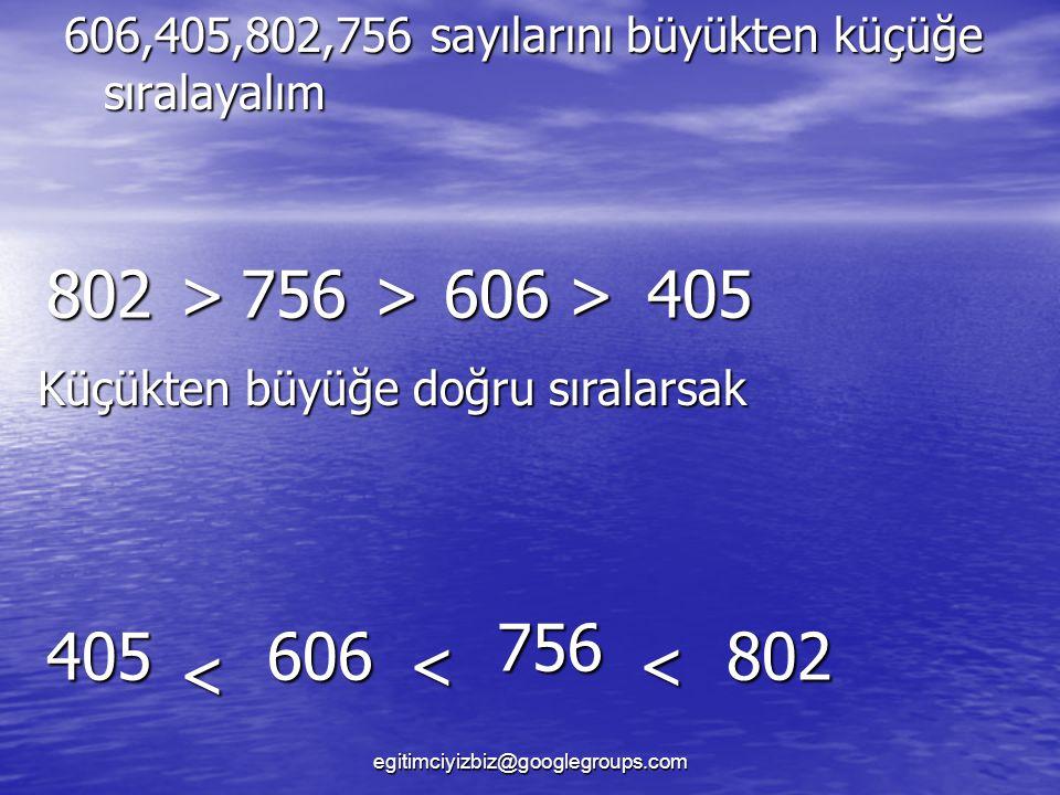 802 > 756 > 606 > 405 756 405 606 802 < < <