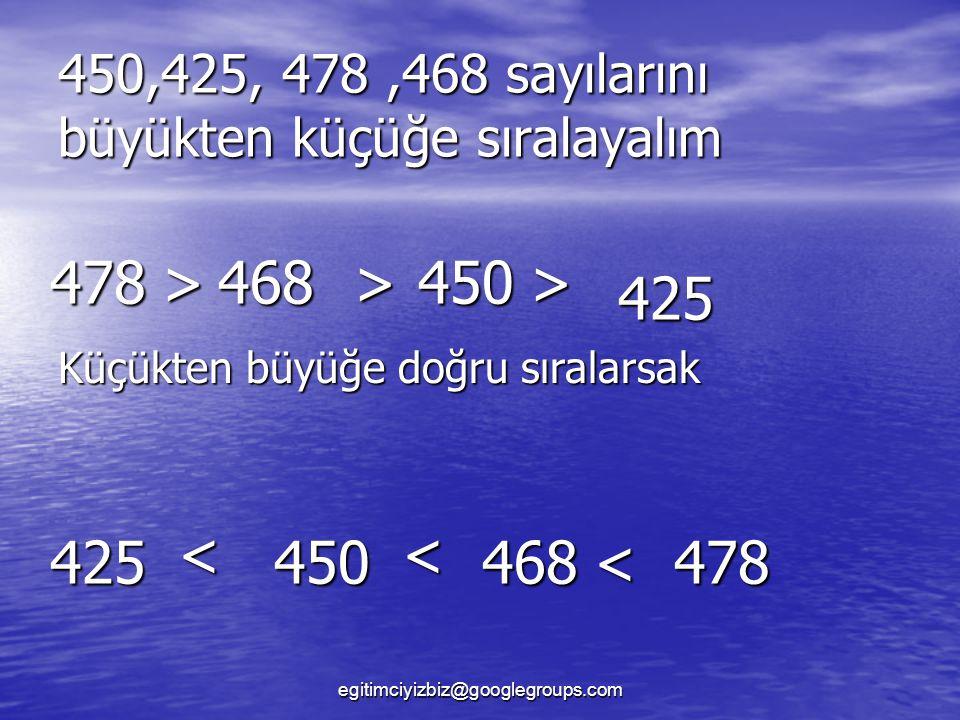 450,425, 478 ,468 sayılarını büyükten küçüğe sıralayalım