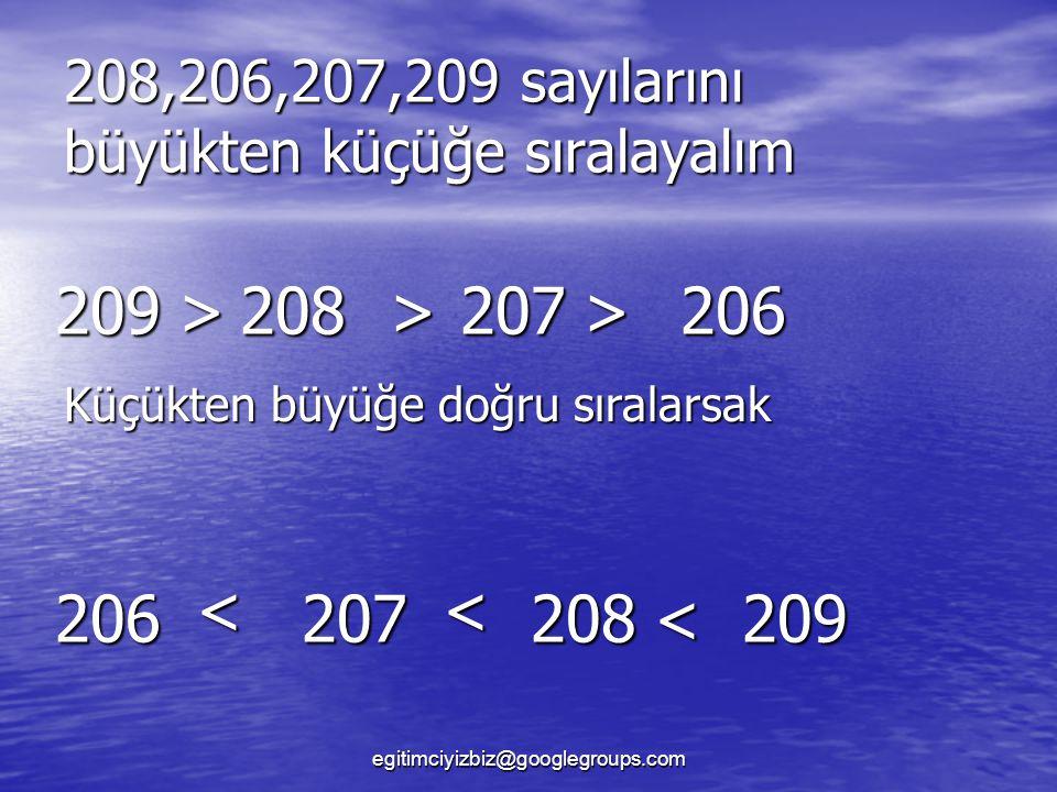 208,206,207,209 sayılarını büyükten küçüğe sıralayalım