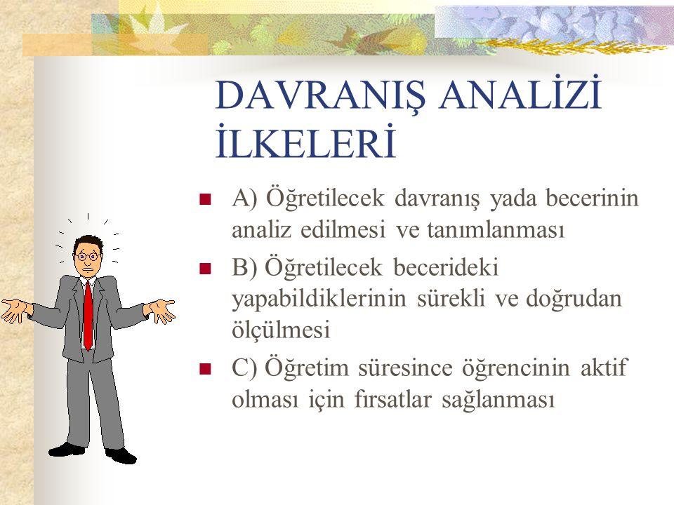 DAVRANIŞ ANALİZİ İLKELERİ