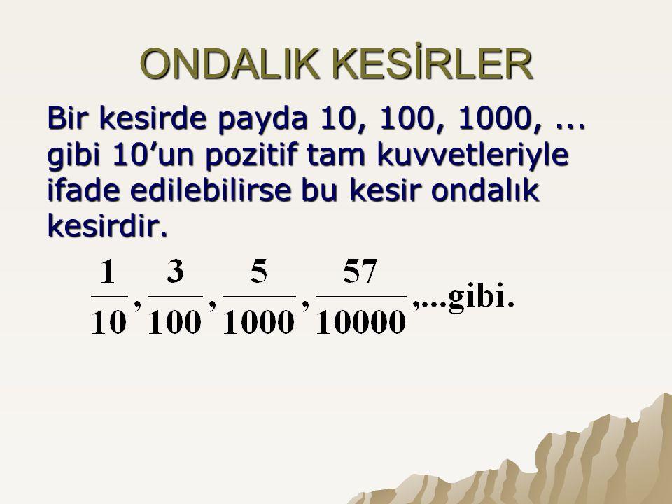 ONDALIK KESİRLER Bir kesirde payda 10, 100, 1000, ...