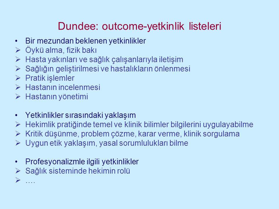 Dundee: outcome-yetkinlik listeleri