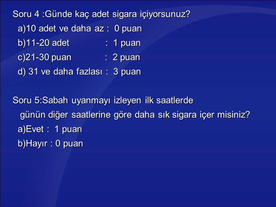 Soru 4 :Günde kaç adet sigara içiyorsunuz