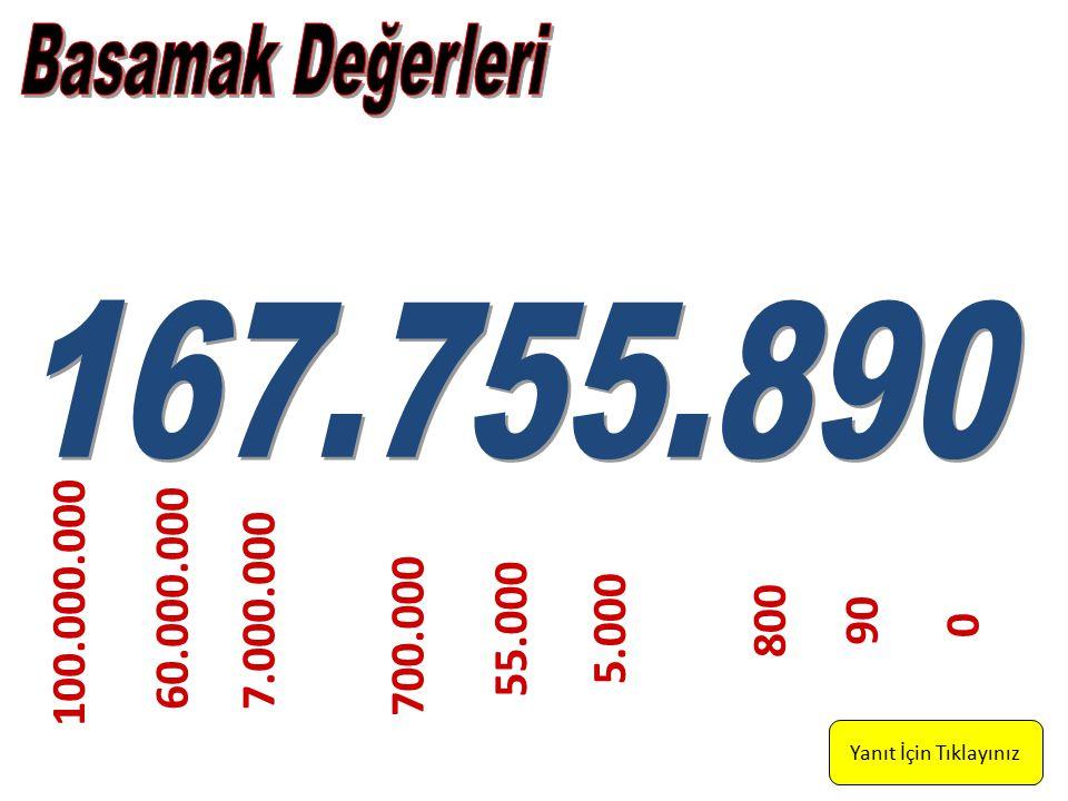 Basamak Değerleri 167.755.890. 100.000.000. 60.000.000. 7.000.000. 800. 90. 55.000. 5.000. 700.000.